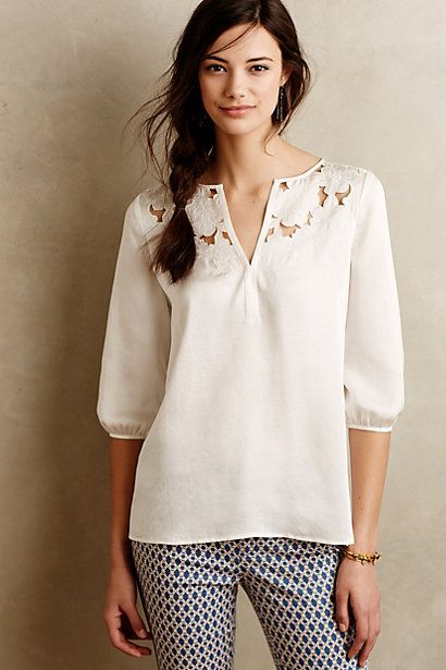 Cut Flower Peasant Blouse anthropologie