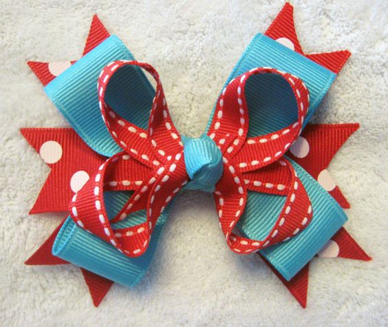 Red and Turquoise Grosgrain Ribbon MultiLayer by BabyABows on Etsy, $4.50