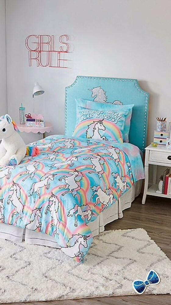 Justice Girls Unicorn 5 Piece Bed In A Bag Set Twin Size Ebay