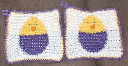 New crocheted pot holder for Easter, easter pot holder, easter decoration, egg potholder by Hildescrochetshop on Etsy