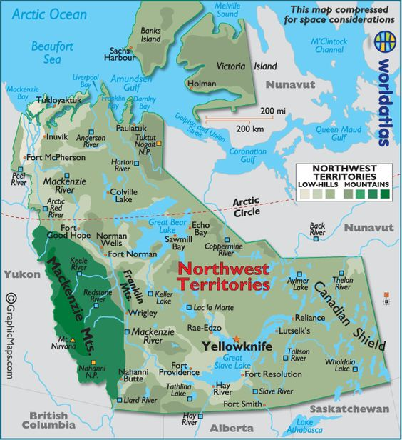 Northwest Territories map-I would love to see the raw power of the Hay River thaw when the ice breaks free in the Spring.