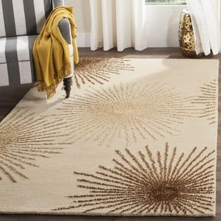 Safavieh Handmade Soho Burst Beige New Zealand Wool Shag Rug 36