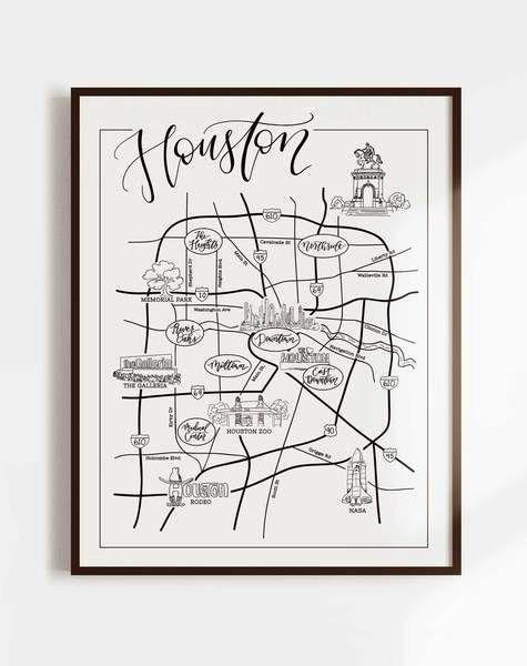 Houston Urban Illustrated Map Illustrated Map Texas Wall Art