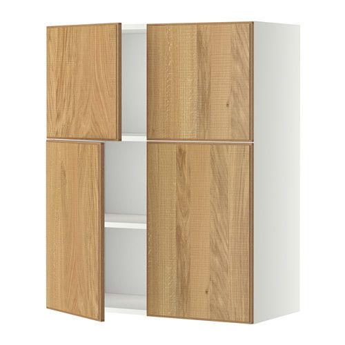 wall cabinet with shelves 4 doors metod white ringhult white ovens cars and doors. Black Bedroom Furniture Sets. Home Design Ideas