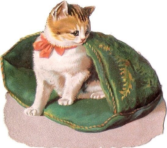Oblaten Glanzbild scrap die cut chromo Katze 7cm cat tiger ginger Helena Maguire: