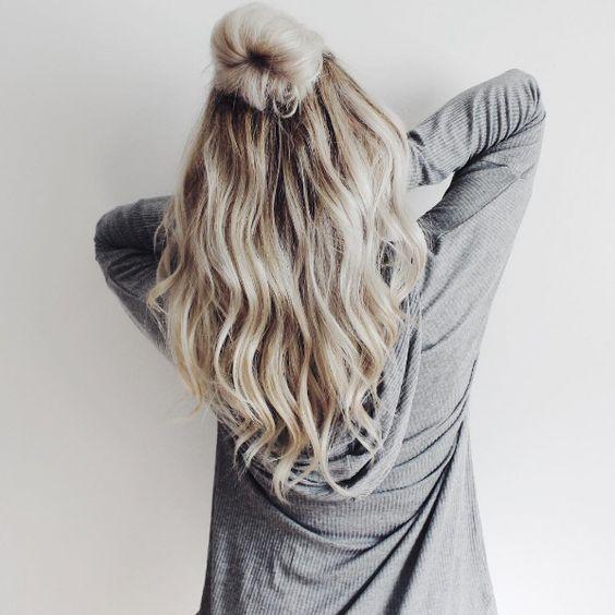 icy blonde half-up top bun