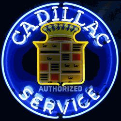 "CADILLAC SERVICE NEON SIGN-NN5CADSR  25"" wide, 25""high, 4"" deep  Light up your garage with our Cadillac Service Neon Sign, featuring multi-colored, hand blown tubing supported on a black, finished metal grid. The Cadillac Service Neon Sign can be displayed flat on a wall or in a window or alternately be placed upon a shelf."