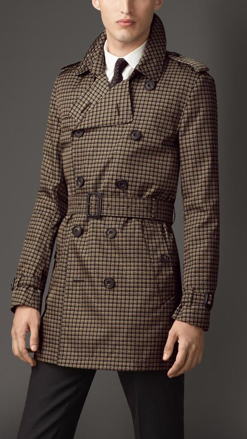 Mid Length Tweed Graphic Technical Trench Coat | Coats Shops and