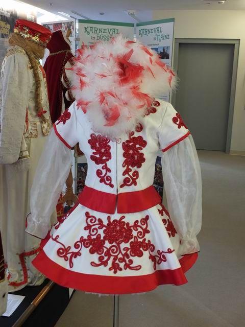 (c)Bruce Guthrie   Funkenmariechen dress (Majorette), a typical costume of Rheinischer Karneval, handmade by Heidi Davis of California and worn during the 2009 Karneval season by her daughter Sophie.