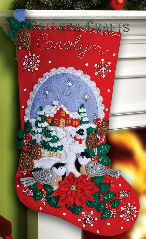 "Chickadees 18"" Bucilla Felt Christmas Stocking Kit #86326 - FTH International Sales Ltd."