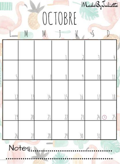 Octobre 2015 imprimes le calendrier pour customiser ton agenda a voir vid o sur ma cha ne - Mois du blanc 2017 ...