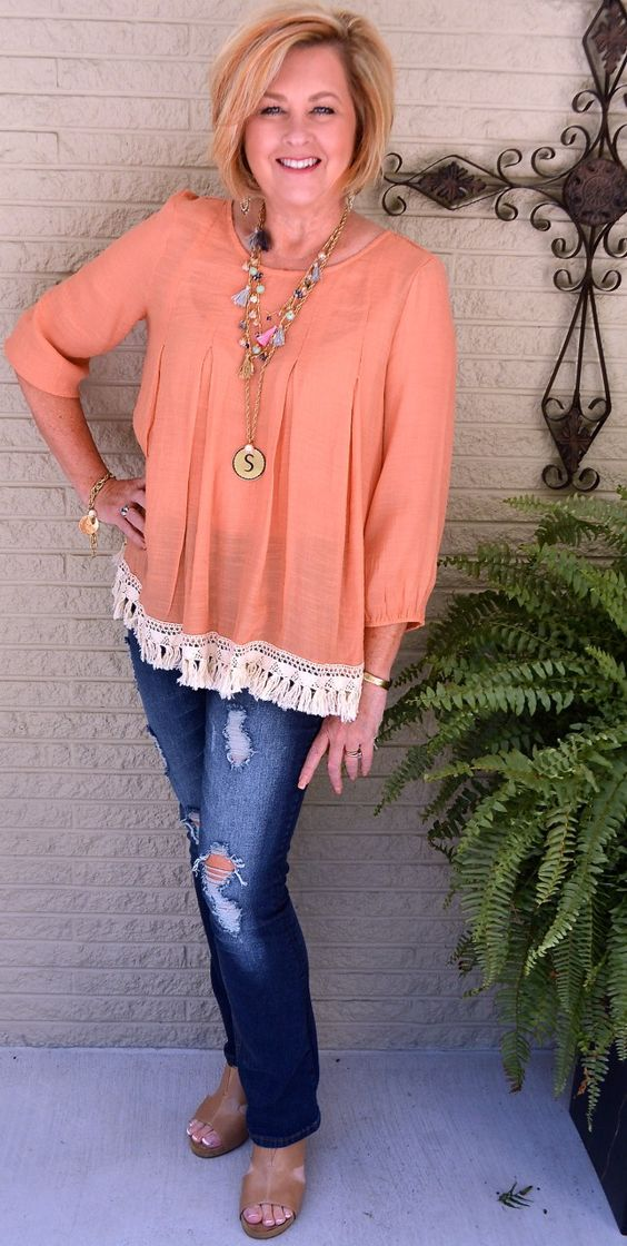 50 IS NOT OLD| CAN YOU WEAR PEACH IN THE FALL | Peach for the Fall | Transition Outfit | Distressed Jeans | Fringe | Tassels | Fashion over 40 for the everyday woman