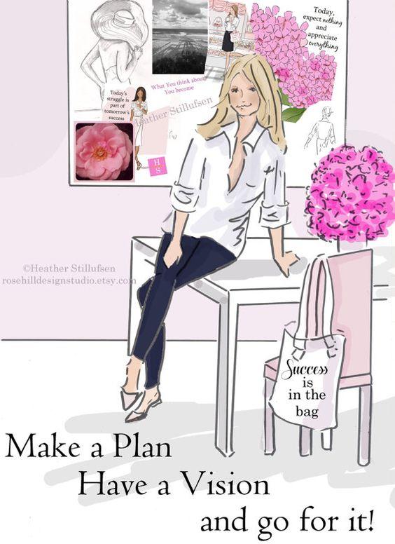 wandkunst für frauen - machen einen plan rosa - kunstdruck/poster, Hause ideen