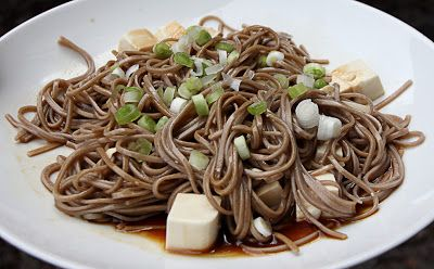 Soba noodles with sesame oil, soy sauce and silken tofu. #japanese #vegan #vegetarian