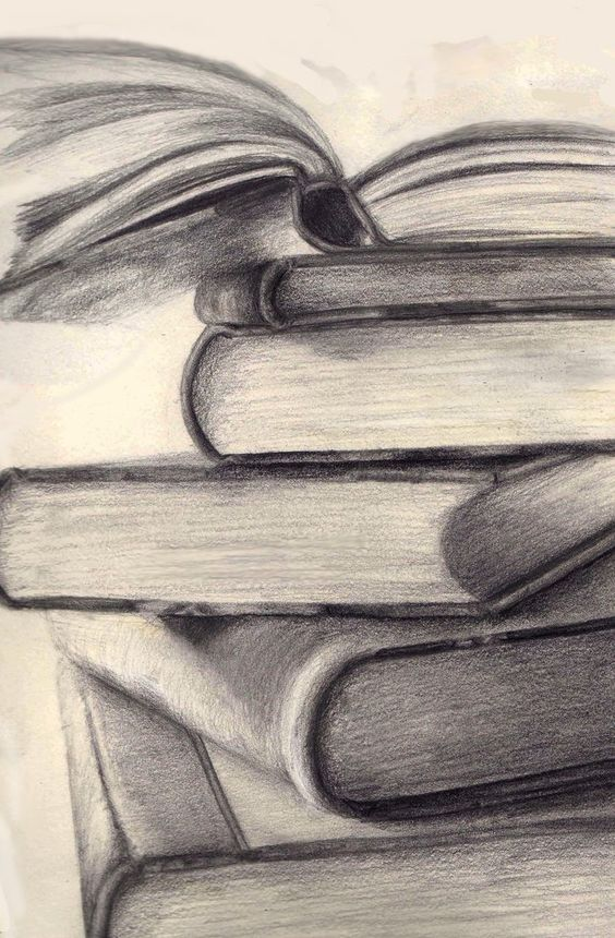 Stack of books pencil drawing google search still life ideas stack of books pinterest searching drawings and sketches