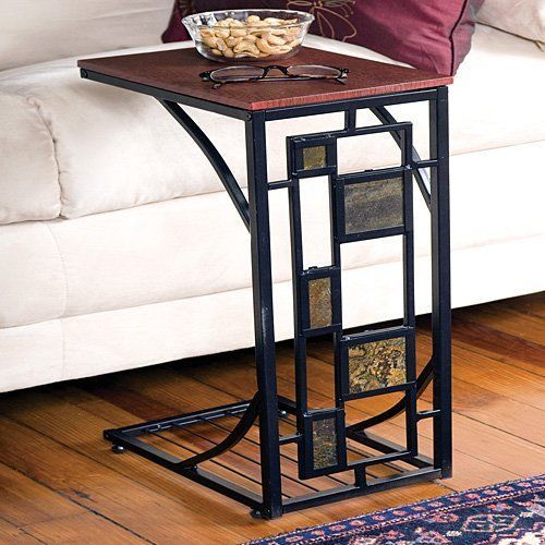 Coffee Tray Side Sofa Table End Table Slide Under Couch Tv Stand Slate Trimmed Geometric Side Table Side Table Decor Sofa Table