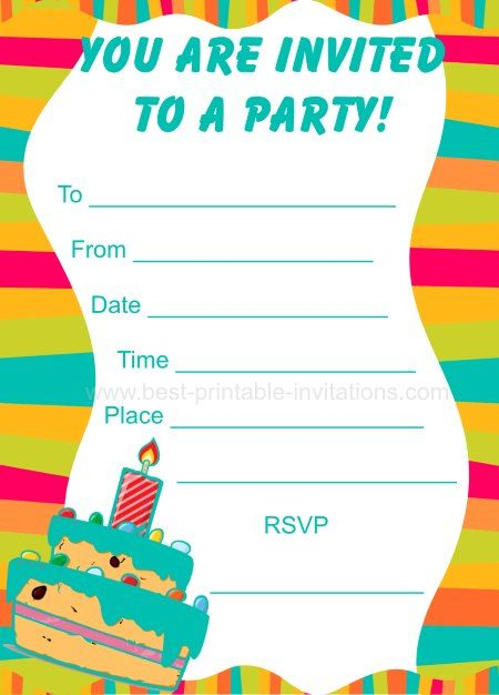 Birthday Party Invitations for Kids - Free printable party invites from www.fromtherookery.com