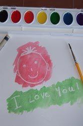 Water color + white crayon = fun!  Write secret notes to your kiddos!