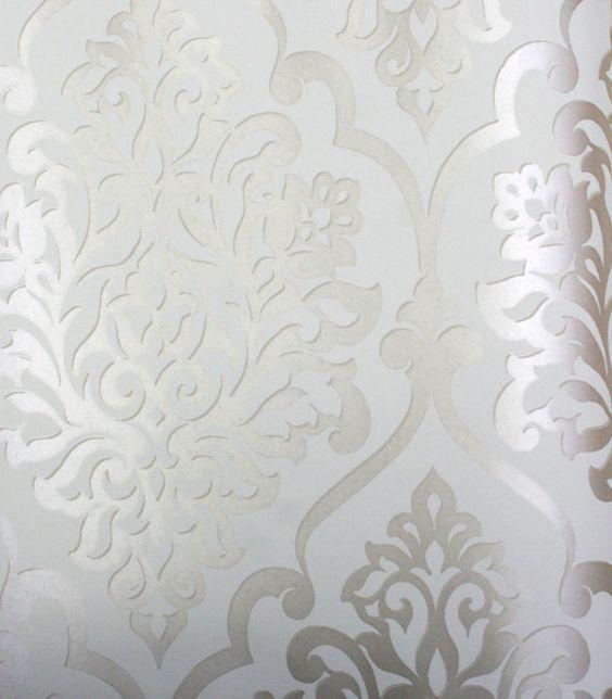 Damask Silver Gold on Beige Wallpaper Damask Silver and Gold on Beige  Wallpaper kids wallpaper nursery. Silver Wallpaper For Bedrooms