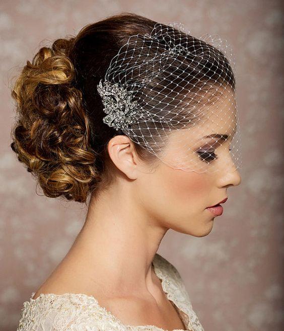 Bridal Veil and Bridal Comb Bandeau Birdcage Veil by GildedShadows, $48.00