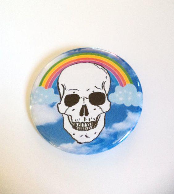 Creepy Cute Kawaii Rainbow Skull Clouds Pinback Button OR Magnet by MAGICbyAnnaPanda, $3.00