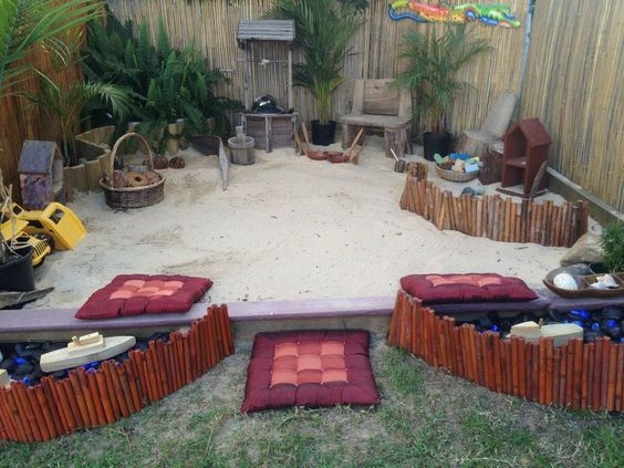 Backyard Sandpit :  backyard for the large sand pit = less grass to cut and less edging