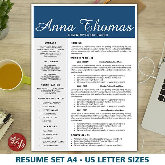 teacher resume template  free cover letter and creative on
