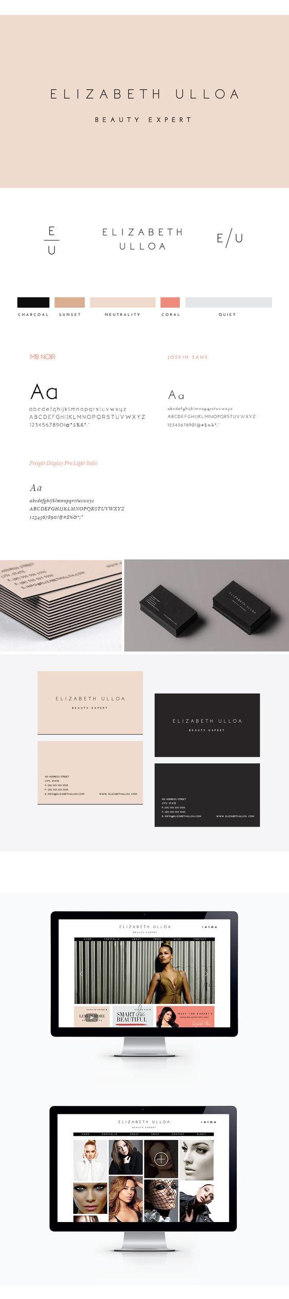 Elizabeth Ulloa Branding, by Julia Kostreva: Branding Design, Minimal Business Card, Minimal Font, Simple Fonts, Clean Fonts, Simple Business Card, Design Branding, Color Palette, Branding Logo