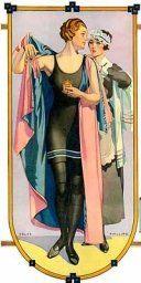 1920's Female Swimwear Fashions  1920's One-piece Ladies Bathing Costume