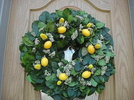 Salal Kranz mit Faux Zitronen Küche Kranz elegante Kranz Hand Crafted Kranz Tür Dekoration Salal
