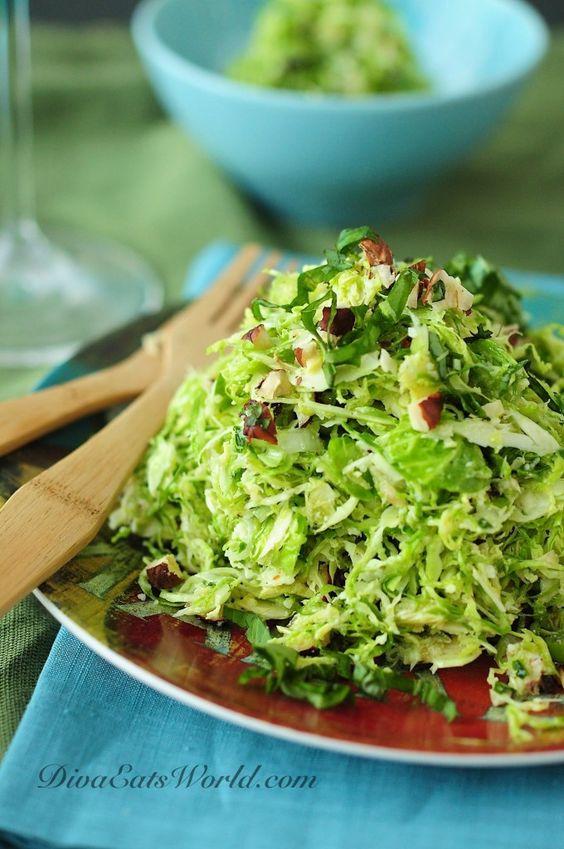 shaved brussel sprout salad with lemon, pecorino & hazelnut dressing