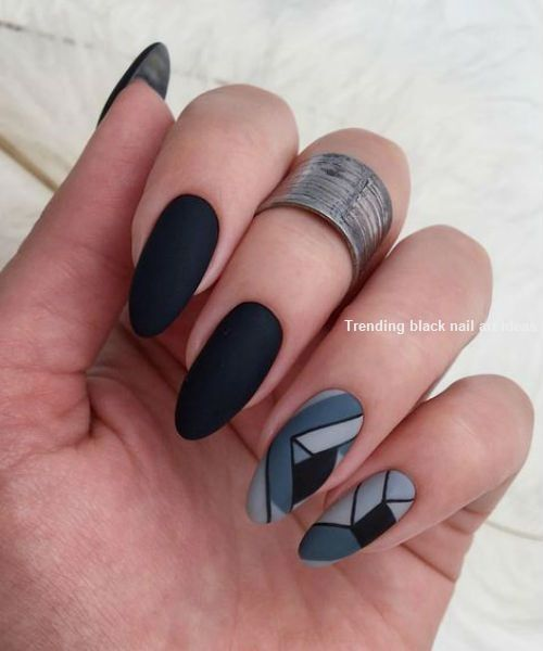 20 Simple Black Nail Art Design Ideas Blacknails Naildesigns Geometric Nail Art Geometric Nail Spring Nail Art