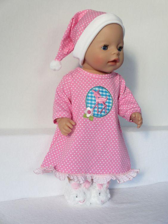 Voor Baby Born Girl een nachtjapon en slaapmuts