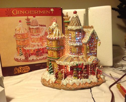Cracker Barrel Large Fiberoptic Gingermint Gingerbread