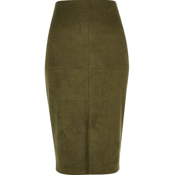 River Island Khaki green faux suede pencil skirt (47 CAD) ❤ liked ...