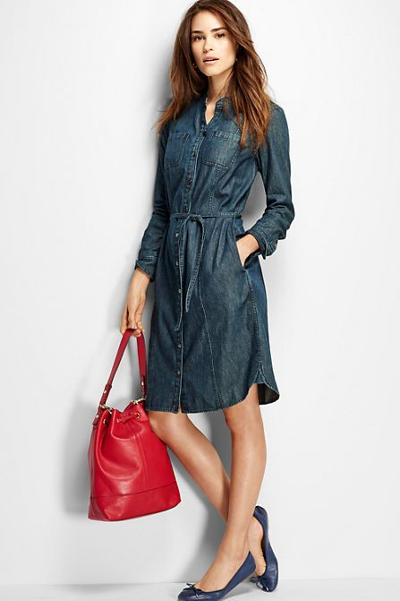 Women's Denim Shirt Dress | Lands' End | Pinterest | Land's end ...