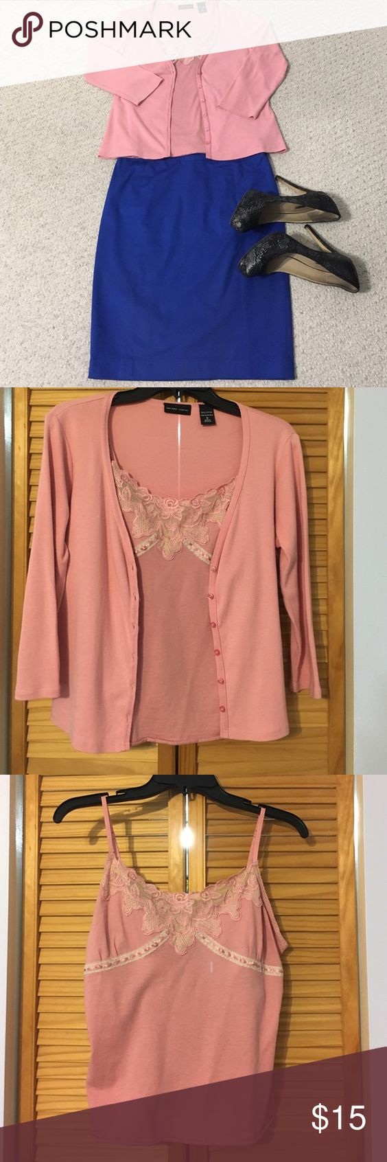 Cute Pink Sweater Set With Lace | Sweater cardigan, Lace and EA