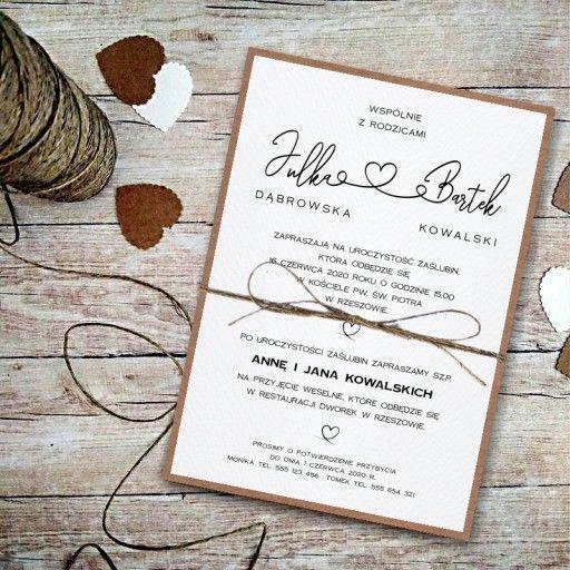 Zaproszenia Slubne Rustykalne Z Dratwa Koperta Eko Place Card Holders Invitations Wedding
