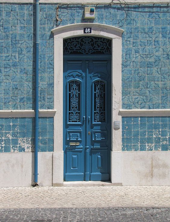 Stunning blue door with tiles. - title Blueish Style - by Pedro Liborio