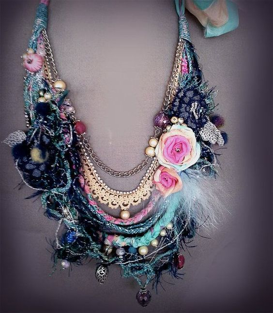 shabby chic soft braided necklace from antique от EsperShabbyArt::