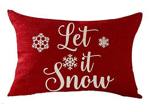 Feleniw Happy Winter Snowflakes Let It Snow Merry Christmas Throw Pillow Cover Cushion Throw Pillows Christmas Christmas Throw Pillows Covers Christmas Throws
