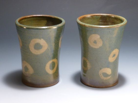 Set of 2 Blue Circle Tumblers by UphamStreetPottery on Etsy, $24.00