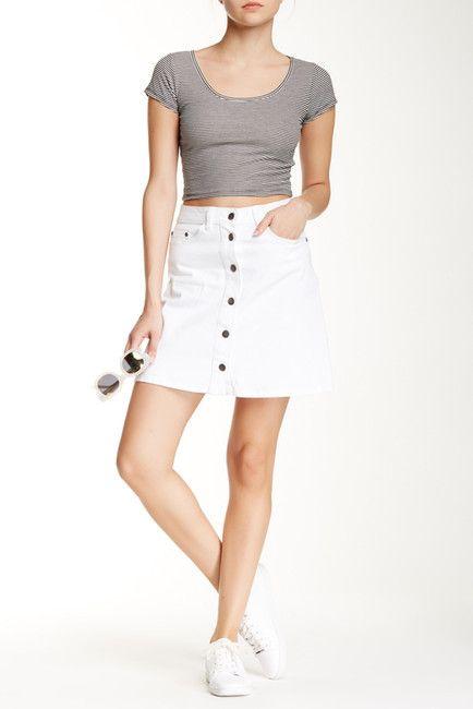 Abound Button Front Mini Skirt