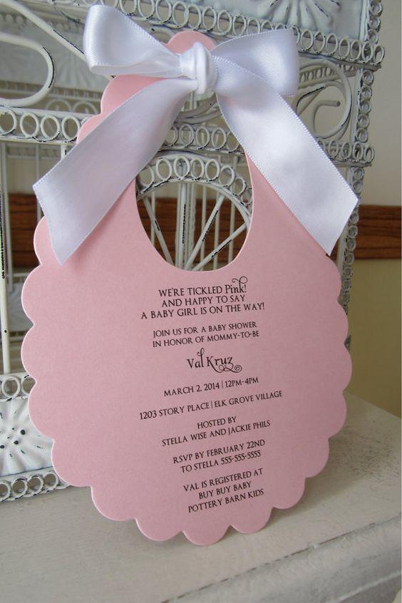Original piensa en rosa bebé niña con tema de bebé ducha invitación - troquelado personalizado