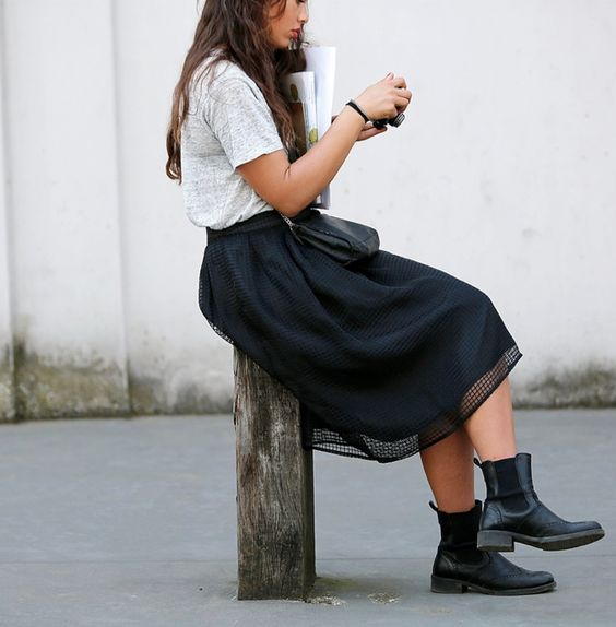 full skirts and boots are a killer combo