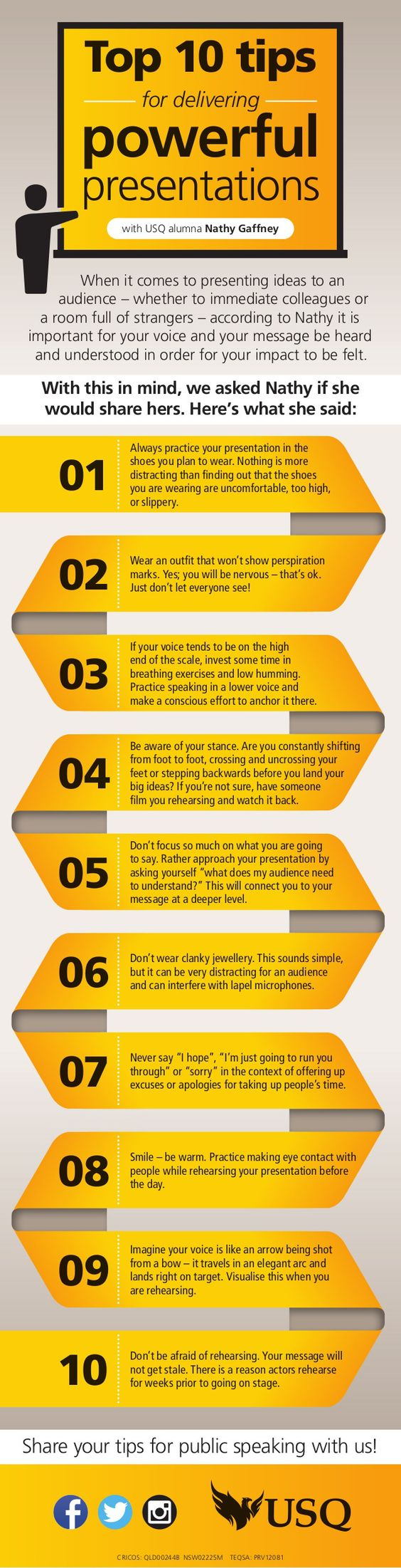 Top 10 tips for delivering powerful presentations #infografia #infographic www.tomislavperko.com JAMSO helps put life into your performance and performance into life www.jamsovaluesmarter.com #performancemanagement