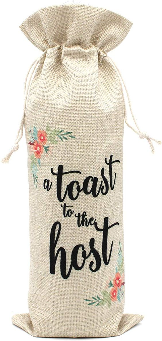 Amazon.com | A Toast for the Host Wine Bags|Perfect Gift for Housewarming Presents for Hostess Women Wedding Girls Night Holiday|Cotton burlap drawstring wine bags: Bar Tools & Drinkware