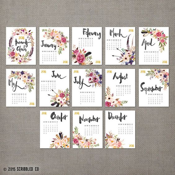 2016 Monthly Wall Calendar, 2016 Calendar, Watercolor Flower , Wall ...