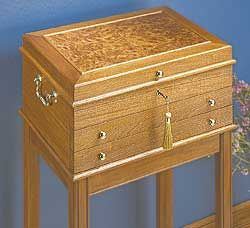 I like the idea of a free standing pirate jewelry chest. I can probably get a chest from Hobby Lobby, then line it and add the drawers.