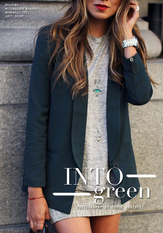 Color Inspiration | Dark Green Blazer & Light Grey Top/Skirt/Dress | Sincerely Jules